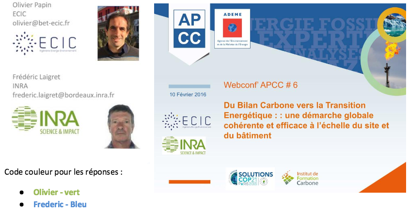 INRA ECIC transition energetique audit energetique bilan carbone